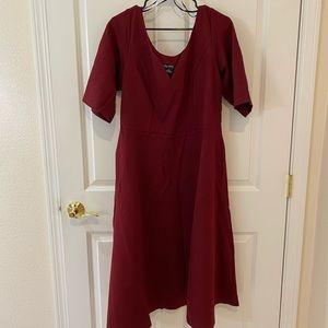 City Chic Cute Girl Elbow Sleeve Dress-Merlot